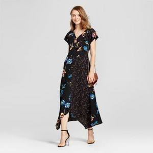 NEW Black Floral Mixed-Print Lace-Up Maxi Dress C9